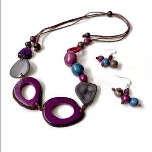 Adjustable Tagua Nut Necklace Set in Purple TAG538